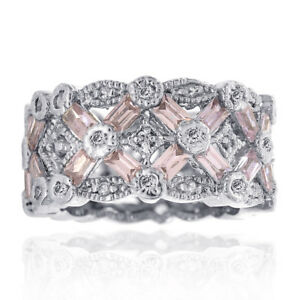 4.00 Carat Round Cut Pink Cubic Zirconia Eternity Band Silver