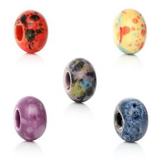 100PCs Mixed Ceramic Round Printing Mottle European Charm Beads 15x9mm