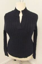 Navy Liz Claiborne Mock Turtle Cable Long Sleeve Sweater Sz 2X  487