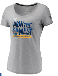 Fanatics Womens Golden State Warriors Gray 2019 Western Conference Champion T-sh
