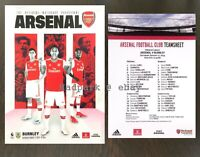 Arsenal v Burnley Premier League Programme With Team Sheet August 2019 17/08/19
