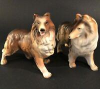 "COLLIE DOG FIGURINES LASSIE SET OF 2 VINTAGE PORCELAIN 6 3/4""L BROWN WHITE"