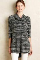 Field Flower Anthropologie Gray Black Space Dye Cowl Neck Tunic Sweater Size S