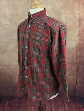 Lands' End Button Down Long Sleeve 100% Cotton Shirt Red Plaid Men's 16 32/33