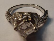Rare EGL Certified 1.34 Ct. Step Cut Diamond in Antique Platinum Mounting 2CTW