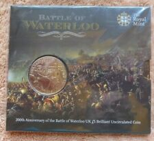 BATTLE of WATERLOO - 2015 - £5 COIN - ROYAL MINT PACK - UNCIRCULATED FIVE POUND