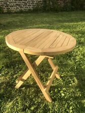 Round Slatted Folding Garden / Picnic Table Solid Wood. 50x50x50cm