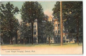 Detroit, Michigan - HARPER HOSPITAL - c1905 UDB Rotograph Postcard