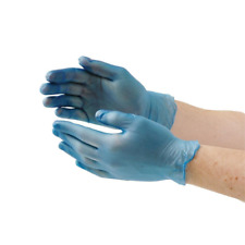 More details for blue vinyl catering gloves small x100 food preparation disposable powder free