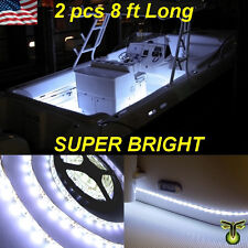 "2x 8' (96"") White LED Boat Deck Light Waterproof Bow Trailer Fishing Pontoon 12v"
