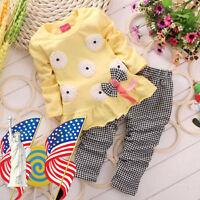 Toddler Kids Baby Girl Autumn Outfits T-Shirt Tops Dress Plaid Pants Clothes Set