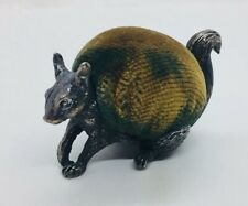 Mappin & Webb Antique English Sterling Silver Figural Squirrel Pin Cushion
