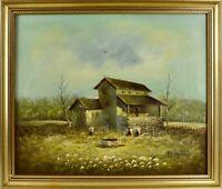 quadro Antico Olio su tela Fattoria Paesaggio casa colonica firmata Keppel