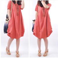 Fashion Korean Summer Women Cotton Short Sleeve O Neck Casual Loose Ruffle Dress