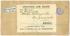 GREAT BRITAIN: Registered sample of no value to Brazil 1916.