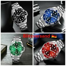 Luxus Business Herren Armbanduhr Silber Schwarz Edelstahl Fashion Männer Quarz