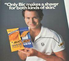 John McEnroe Tennis Star BIC Shaver Shaving Razor Athlete 1987 Vintage Print Ad