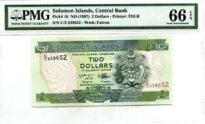 SOLOMON ISLANDS $2 DOLLARS 1997 CENTRAL BANK PICK 18 LUCKY MONEY VALUE $66