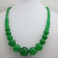 Fashion 6-14mm natural green jade gemstone round beads necklace 17.5 inches