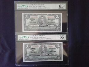 1937, Bank Of Canada $1 Sequential Pair BC-21d  Coyne / Towers  PMG GEM UNC 65