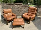 VTG Mid Century Percival Lafer Style His   Her Lounge Chairs   Ottoman SEE PICS