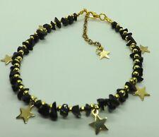 Pietre PREZIOSE ONICE NERO ORO toni stelle Cavigliera braccialetto alla caviglia GYPSY HIPPY Cavigliera