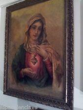 Cuadro religioso Sagrado Corazon Maria litografico Siglo XlX Marco Antiguo Marco