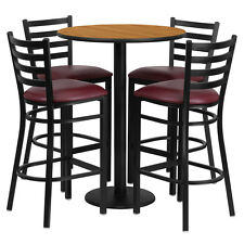 30' Natural Finish Bar Height Laminate Table Set with 4 Ladder Metal Bar Stools