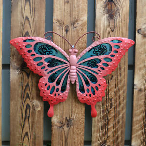 Metal & Glass Butterfly Wall Decor hanging sculpture for patio, room