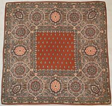"""SCARF VINTAGE AUTHENTIC BELVEDERE PAISLEY ART BROWN RED SILK 34"""" SQUARE WOMEN'S"""