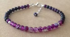 Shades of PURPLE AGATE, Sterling Silver, Beaded Friendship Bracelet