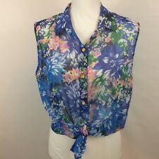 Lapis Womens Shirt Blue Pink Sheer Floral Sleeveless Gold Buttons Style # F-107