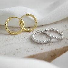 Creolen mit Struktur echt Sterling Silber 925 Damen Ohrringe Kreolen