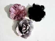3 fabric flower brooches with safety pin fastenings -approx 9cm diameter