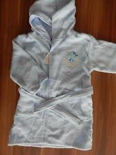 Baby Kinder Bademantel mit Kapuze Baumwolle Frottee weich Hellblau Gr 86/92
