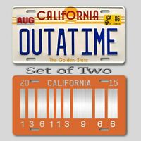 Back to the Future LICENSE PLATE OUTATIME ULTIMATE COLLECTORS Tags SET of 2 B