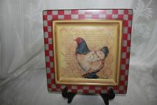 Vintage Hand painted Hen Square Plate 2
