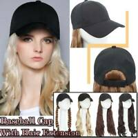 "Baseball Cap Hat With Hair Full Head As Human Hair Extensions Long Thick 18"" NEW"