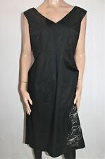 B BIB Designer Black V Neck Sleeveless Day Dress Size24 BNWT #SQ55