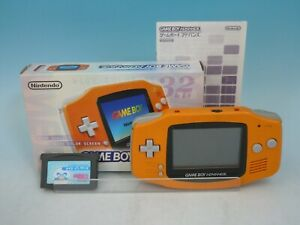 NINTENDO Game Boy Advance Console Orange AGB-001 Works & Made in Wario EMS JP