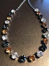 Fun Size Necklace Choker Blue & Gold With Swarovski Crystals Hematite Setting
