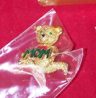 "GOLD TEDDY BEAR WITH RED HEART AND GREEN ""MOM""  BROOCH PIN JEWELRY APPROX. 2"""