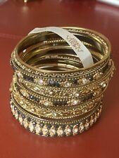 "New bangle bracelet Set by AMRITA SINGH, Black And Gold 7.5-8"""