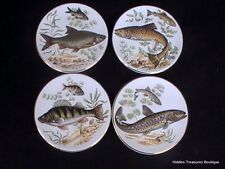 Liverpool Road Pottery Stoke On Trent 4 Trinket/Pin Dishes Fish Gold Trim