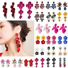 Women Fashion Long Flowers Earrings Crystal Water Drop Dangle Ear Stud Jewelry