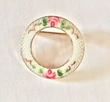 Vintage Guilloche White Enamel Circle Wreath Pin Roses Flowers Floral Gold Tone