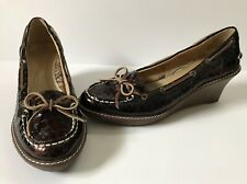 SPERRY Top-Sider Brown Moc Croc Patent Leather Wedge Womens 6.5 M Boat Deck Heel