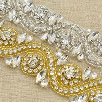 1yard Beaded Bling Crystal Trim Sew On Rhinestone Applique Bridal Belt Trimming