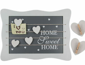 Shabby Chic Home Sweet Home Message Board 4 Bands and 4 Heart Clips 34 x 25cm
