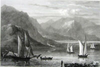 Greece, ISTHMUS OF CORINTH SAILBOATS CANAL ~ 1828 Landscape Art Print Engraving